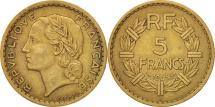 France, Lavrillier, 5 Francs, 1945,Castelsarrasin,EF(40-45),Alu-Bronze,KM 888a.3