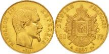 World Coins - France, Napoleon III, 50 Francs, 1857, Paris, AU(55-58), Gold,KM 785.1