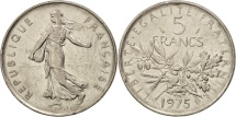 France, Semeuse, 5 Francs, 1975, Paris, AU(50-53), Copper-Nickel, KM 926a.1