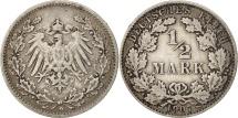 GERMANY - EMPIRE, 1/2 Mark, 1907, Munich, EF(40-45), Silver, KM:17