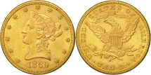 Us Coins - United States, Coronet Head, $10, 1889, San Francisco, AU(50-53), Gold, KM:102
