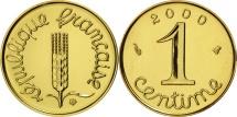 World Coins - France, Épi, Centime, 2000, Paris, MS(65-70), Gold, KM:928a, Gadoury:91a