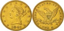 Us Coins - United States, Coronet Head, $10, 1847, Philadelphia, EF(40-45), Gold, KM:66.2