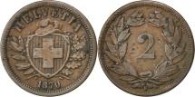 World Coins - SWITZERLAND, 2 Rappen, 1870, Bern, KM #4.1, EF(40-45), Bronze, 20, 2.41
