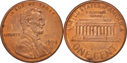 Us Coins - UNITED STATES, Lincoln Cent, Cent, 1994, U.S. Mint, KM #201b, , Copper.