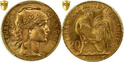 World Coins - Coin, France, Marianne, 20 Francs, 1909, PCGS, MS65+, Gold, KM:857, graded