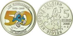 World Coins - Belgium, 5 Euro, Les Schtroumpfs, 2008, , Silver, KM:270a