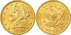 Us Coins - Coin, United States, Coronet Head, $5,1900, Philadelpia, AU(50653), KM 101