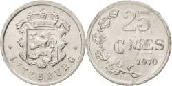 World Coins - Luxembourg, Jean, 25 Centimes, 1970, , Aluminum, KM:45a.1