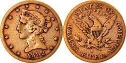 Us Coins - Coin, United States, Coronet Head, $5, Half Eagle, 1892, U.S. Mint, San