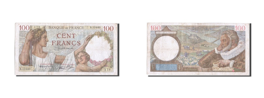 World Coins - France, 100 Francs, 100 F 1939-1942 ''Sully'', 1940, KM #94, 1940-08-08,...