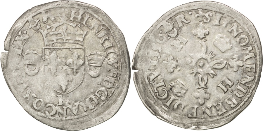 World Coins - FRANCE, Douzain aux croissants, 1550, Bordeaux, , Billon, Sombart...