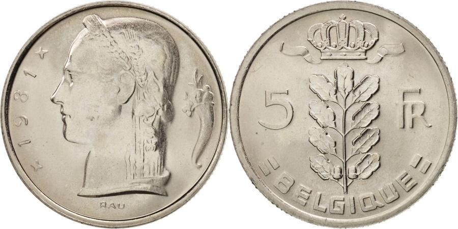 World Coins - Belgium, 5 Francs, 5 Frank, 1981, , Copper-nickel, KM:134.1