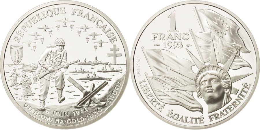 World Coins - France, Franc, 1993, Paris, , Silver, KM:1014