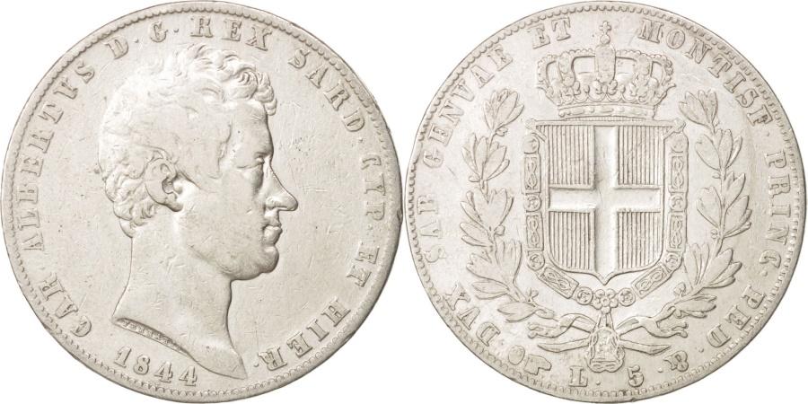 Italian states sardinia carlo alberto 5 lire 1844 for Coin torino