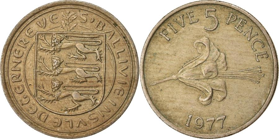World Coins - Coin, Guernsey, Elizabeth II, 5 Pence, 1977, , Copper-nickel, KM:29