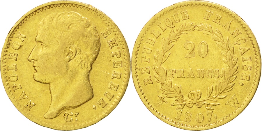 World Coins - FRANCE, Napoléon I, 20 Francs, 1807, Lille, KM #A687.4, , Gold, Gadoury