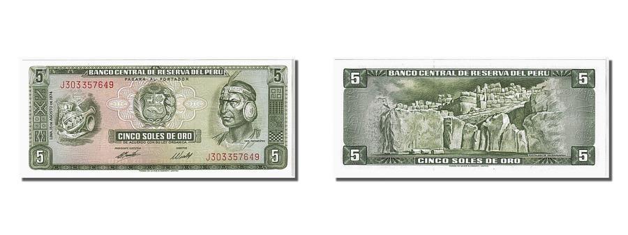 Peru 5 Sole BANKNOTE 1974 UNC
