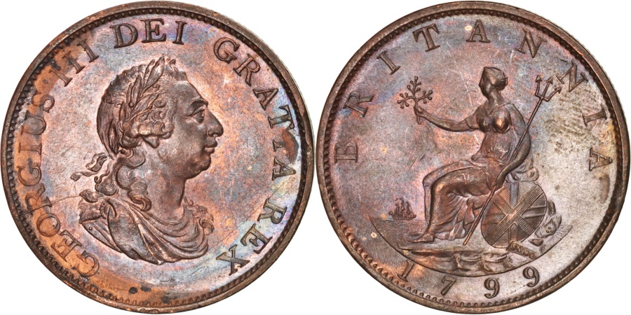 World Coins - Great Britain, George III, 1/2 Penny, 1799, , Copper, KM:647
