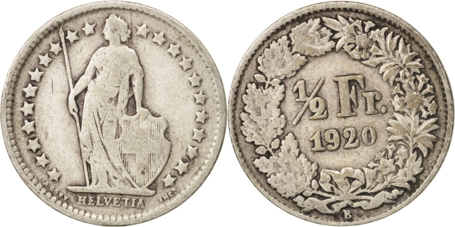 World Coins - Switzerland, 1/2 Franc, 1920, Bern, , Silver, KM:23