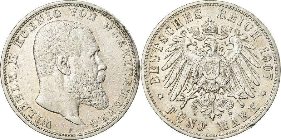 World Coins - Coin, German States, WURTTEMBERG, Wilhelm II, 5 Mark, 1907, Freudenstadt
