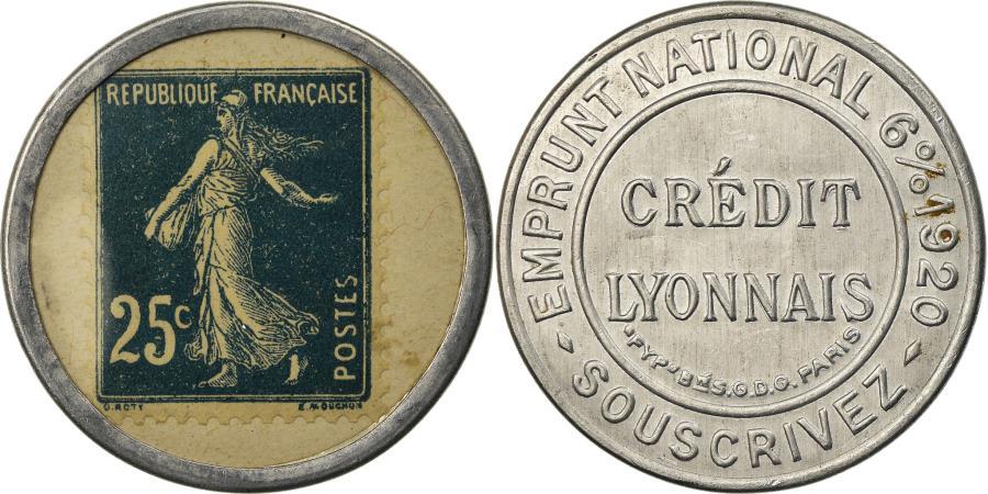 World Coins - Coin, France, Crédit Lyonnais, 25 Centimes, Timbre-Monnaie,