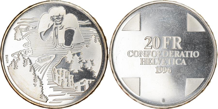 World Coins - Coin, Switzerland, Géant Gargantua, 20 Francs, 1996, Proof, , Silver