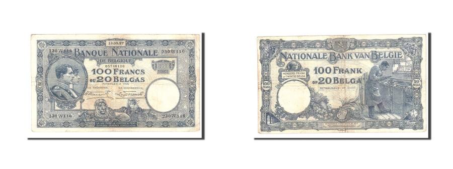 World Coins - Belgium, 100 Francs-20 Belgas, 1929, KM:102, 1928-08-18, VF(20-25)