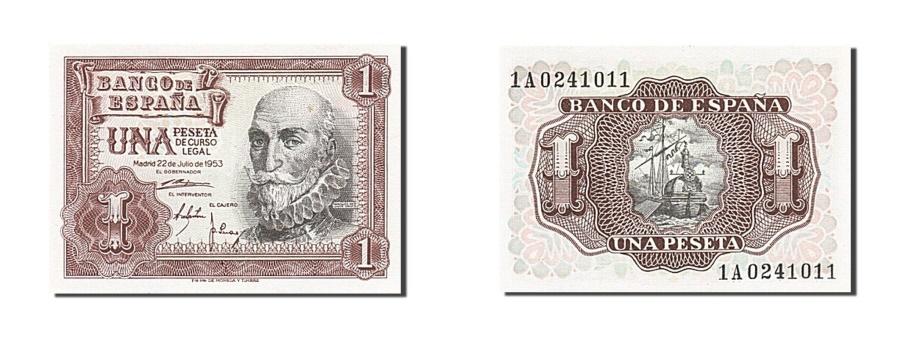 World Coins - Spain, 1 Peseta, 1953, KM #144a, 1953-07-22, UNC(63), 1A0241011