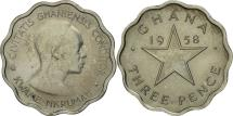 World Coins - Ghana, 3 Pence, 1958, AU(55-58), Copper-nickel, KM:3