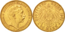 German States, PRUSSIA, Wilhelm II, 20 Mark, 1901, Berlin, AU(50-53), Gold