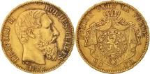 Belgium, Leopold II, 20 Francs, 20 Frank, 1875, EF(40-45), Gold, KM:37