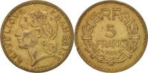 France, Lavrillier, 5 Francs, 1940, EF(40-45), Aluminum-Bronze, KM:888a.1