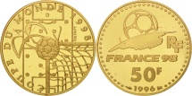 World Coins - France, 50 Francs, Ideal of Football, World Cup 1996, MS(65-70), Gold, KM:1145