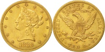 Us Coins - United States, Coronet Head, $10, 1888, San Francisco, AU(50-53), Gold, KM:102