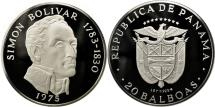World Coins - Panama, 20 Balboas, Simon Bolivar, 1975, U.S. Mint, MS(64), Silver, KM:31