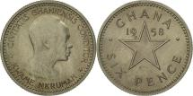 World Coins - Ghana, 6 Pence, 1958, MS(60-62), Copper-nickel, KM:4