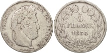 France, Louis-Philippe, 5 Francs, 1833, VF(20-25), Silver, KM:749.12