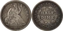 Us Coins - United States, Seated Liberty Half Dime, 1838, Philadelphia, VF, KM:62.1