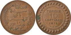 World Coins - TUNISIA, 10 Centimes, 1912, Paris, KM #236, , Bronze, 9.93