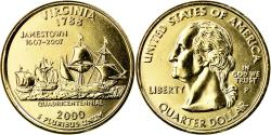 Us Coins - Coin, United States, Virginia, Quarter, 2000, U.S. Mint, Philadelphia, golden