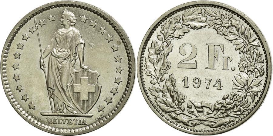 World Coins - Coin, Switzerland, 2 Francs, 1974, AU(55-58), Copper-nickel, KM:21a.1
