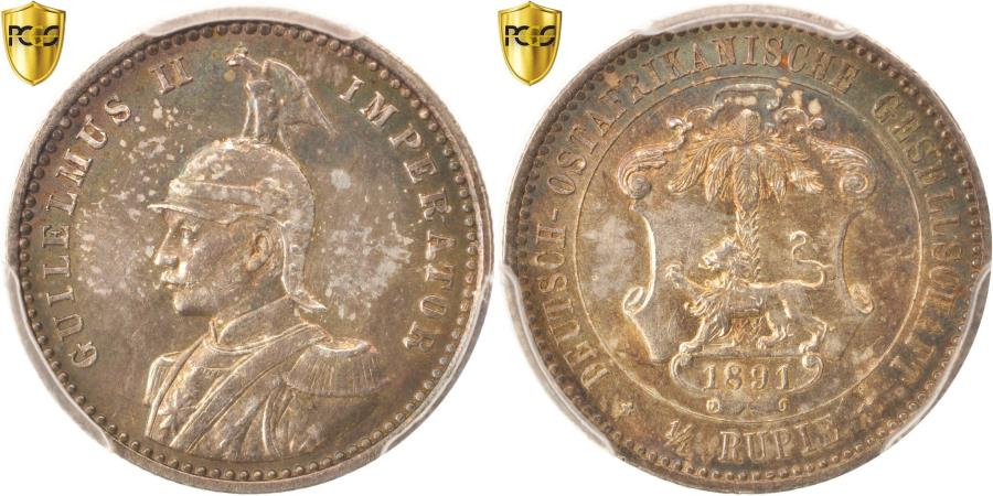 World Coins - Coin, GERMAN EAST AFRICA, Wihelm II, 1/4 Rupie, 1891, PCGS, MS64,