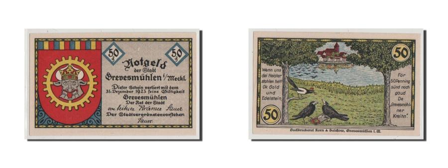 World Coins - Germany, Grevesmuhlen Stadt, 50 Pfennig, UNC(65-70), Mehl #473.1