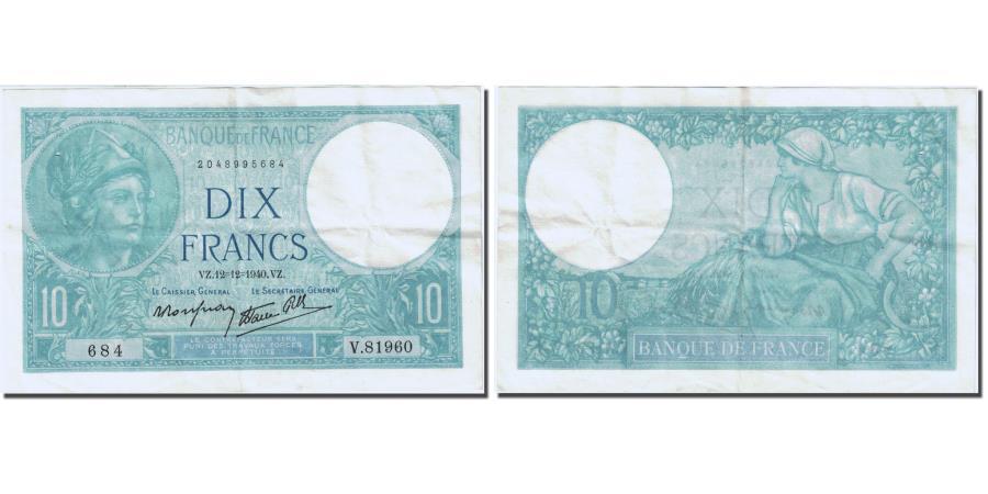World Coins - France, 10 Francs 1916-1942 ''Minerve'', 1915, 1940-12-12, AU(55-58), Fay 7.24