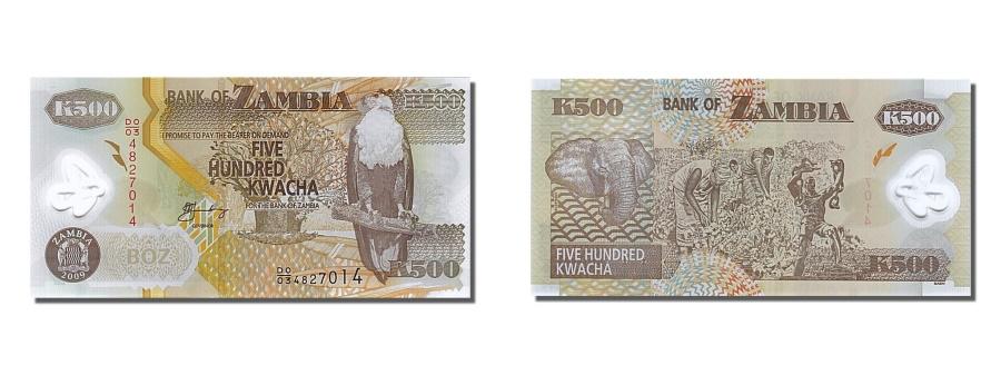 World Coins - Zambia, 500 Kwacha, 2009, KM #43g, UNC(65-70), DO/034827014
