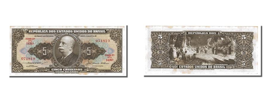 World Coins - Brazil, 5 Cruzeiros, 1953, KM #158c, UNC(63)