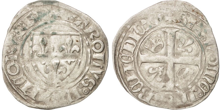 World Coins - FRANCE, Charles VI, Blanc guénar, Saint-Pourçain, , Billon