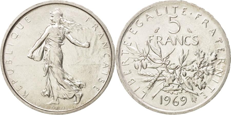 World Coins - France, Semeuse, 5 Francs, 1969, , Silver, KM:926, Gadoury:770