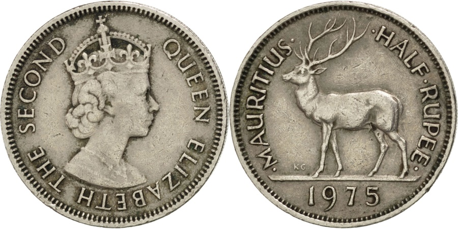 World Coins - MAURITIUS, 1/2 Rupee, 1975, KM #37.1, , Copper-Nickel, 23.65, 5.75